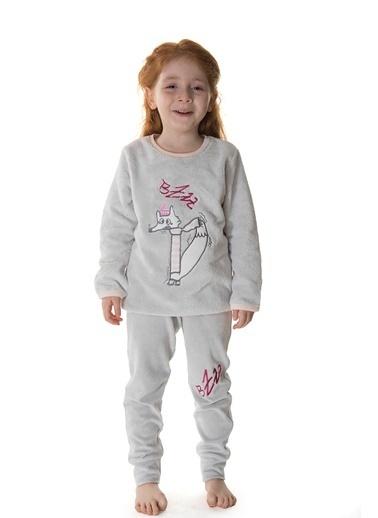 Hays Kids Kız Çocuk Üst Wellsoft Alt Kadife 2Li Uzun Pijama Takımı Gri